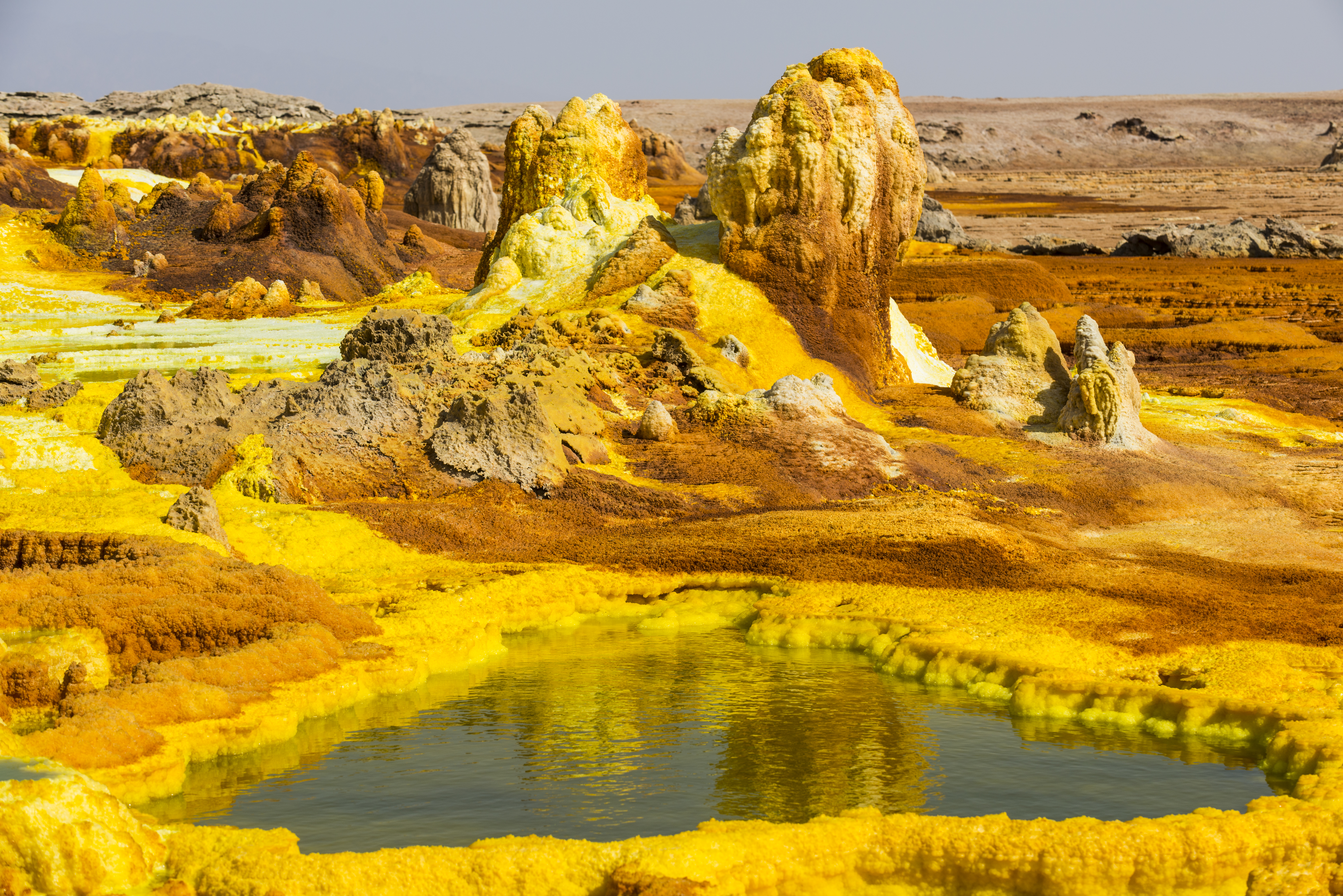 Colourful spings of acid in Dallol, hottest place on earth, Danakil depression, Ethiopia