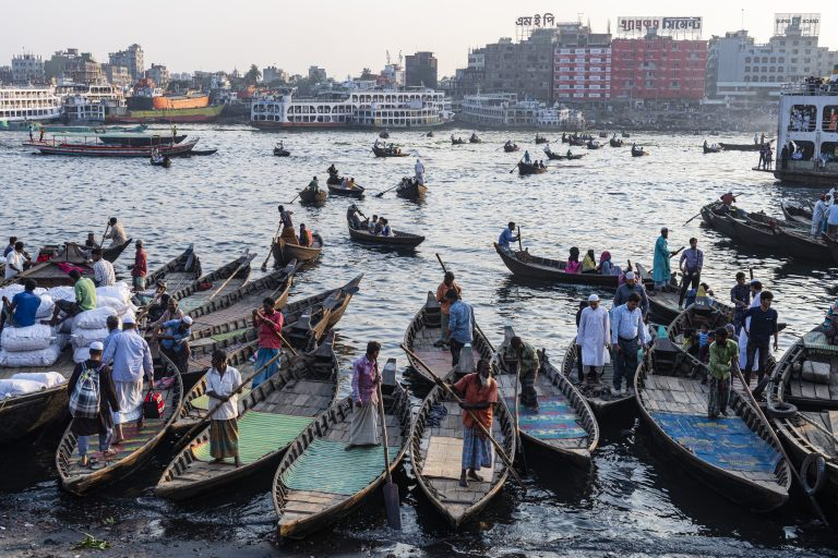 Travel Bangladesh,Passenger Canoes in the port of Dhaka