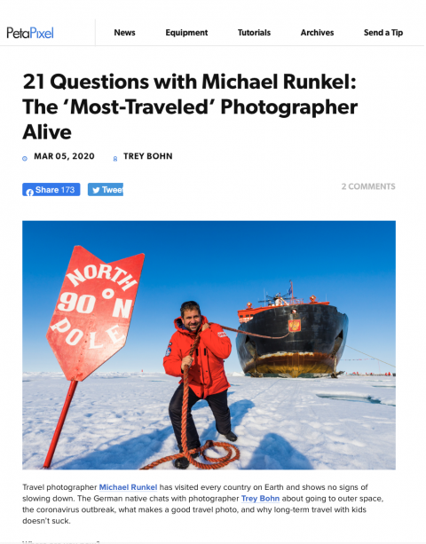 21 Questions with Michael Runkel: The 'Most-Traveled' Photographer Alive: Petapixel